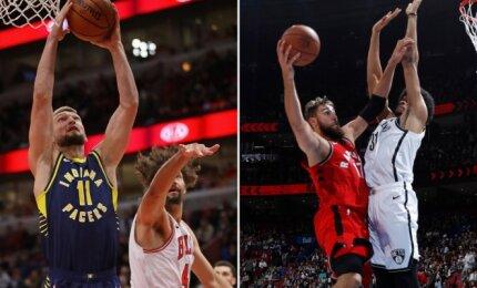 """NBA naktis: Sabonis pasižymėjo triuškinančiu dėjimu, iš toli pataikęs Valančiūnas ir """"Raptors"""" užtikrintai laimėjo"""