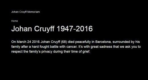 Žinia apie Johano Cruyffo mirtį oficialioje jo interneto svetainėje