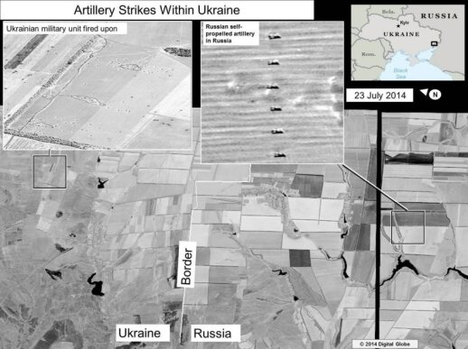 Russian artillery striking Ukraine. Images by US State Department