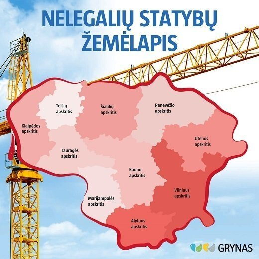 Nelegalių statybų žemėlapis pagal savavališkų statybų skaičiaus ir gyventojų tankio santykį