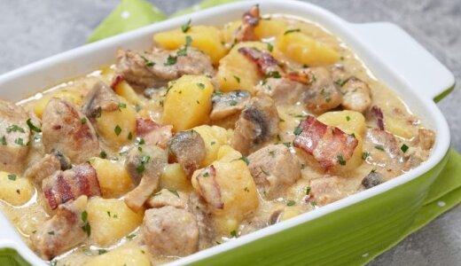 Sotusis vištienos, bulvių ir pievagrybių troškinys