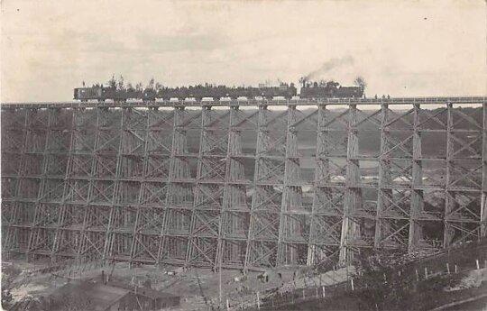 Vokiečių pastatytas vienas didžiausių tuo metu pasaulyje buvusių tiltų Lyduvėnuose (1916–1918 m.)