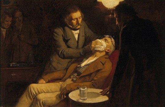 Williamas Mortonas anestezuoja pacientą