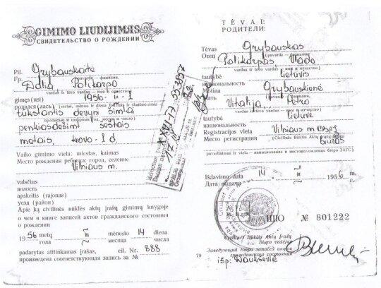 Dalios Grybauskaitės gimimo liudijimas