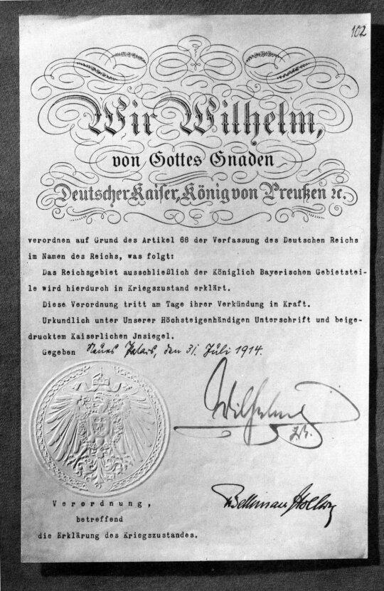 Kaizerinės Vokietijos karo deklaracija, 1914 m. liepos 31 d.