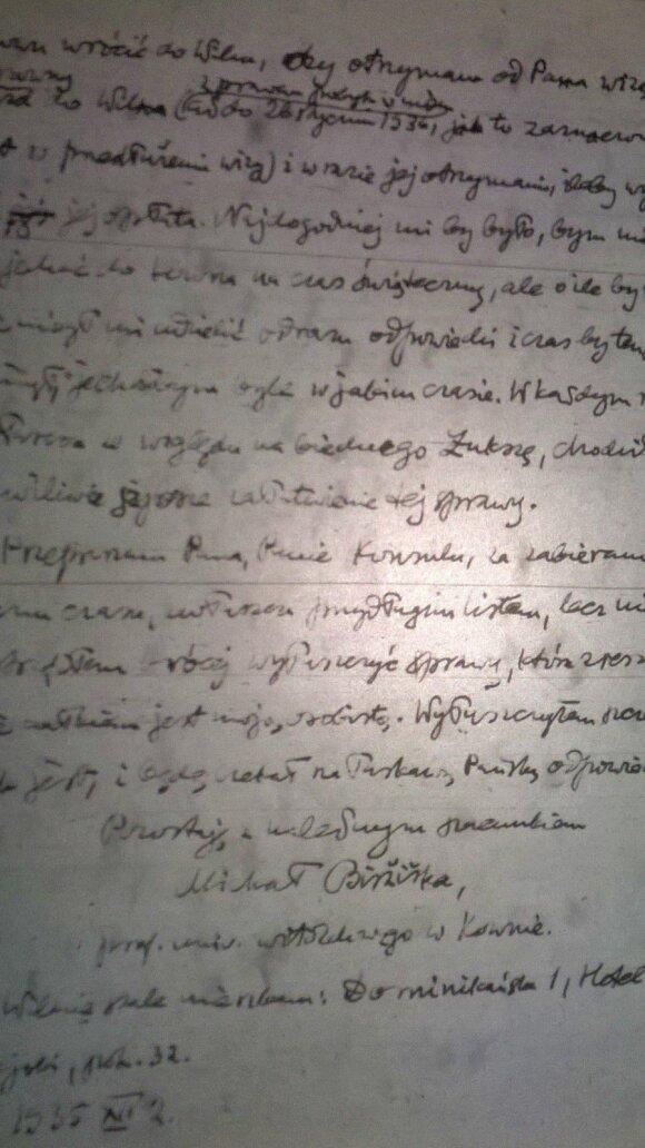 Mykolo Biržiškos laiško Lenkijos konsului puslapis, 1935 m.