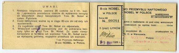 Brolių Nobel bendrovės benzino talonų, apmokėtų iš anksto, knygelės. 1926 metai. Vyčio Ramanausko kolekcija