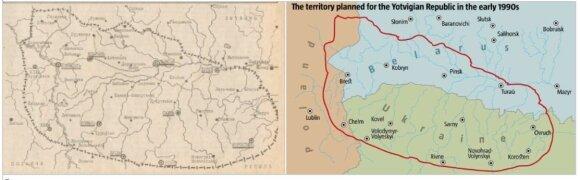"""N. Šeliagovičiaus konstruota """"Jotvos valstybė"""" (""""Jotva – 1"""") turėjo aprėpti pietvakarių Gudiją, šiaurės vakarų Ukrainą ir gretimas Lenkijos teritorijas"""