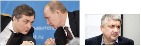 """Rusijos """"ministras be portfelio kaimyninių valstybių dezintegravimo klausimais"""" V. Surkovas aptaria su """"bendranacionaliniu lyderiu"""" eilinių šunybių seką .Dešinėje – R. Iščenka"""