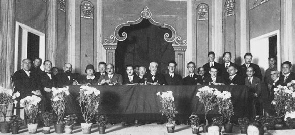 The dais at the first YIVO Conference, Vilna, 1929. YIVO Archives