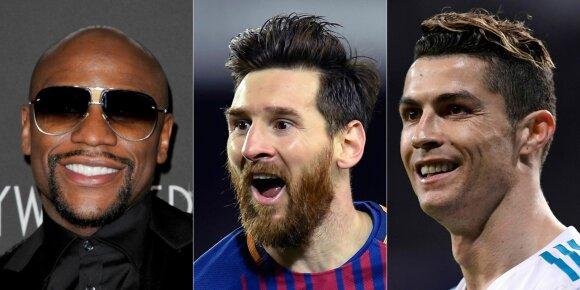 Floydas Mayweatheris, Lionelis Messi ir Cristiano Ronaldo