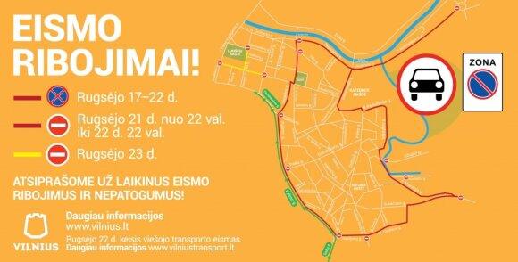 Eismo ribojimai Vilniuje popiežiaus vizito metu