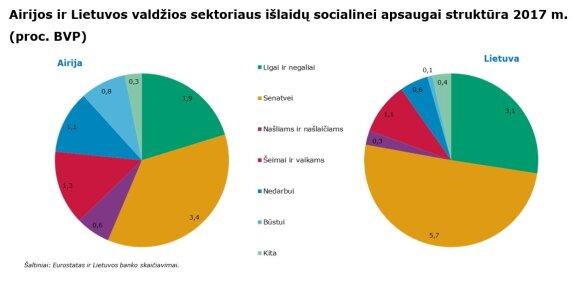 Airijos ir Lietuvos valdžios sektoriaus išlaidų socialinei apsaugai struktūra 2017 m. (proc. BVP)