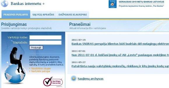 Snoro internetinė bankininkystė