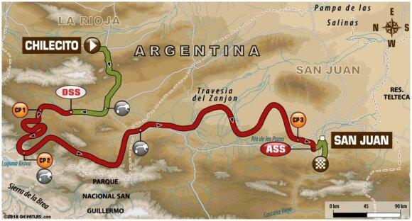 Dvyliktojo Dakaro ralio etapo maršrutas