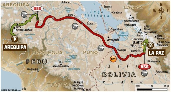 Šeštojo Dakaro ralio etapo maršrutas
