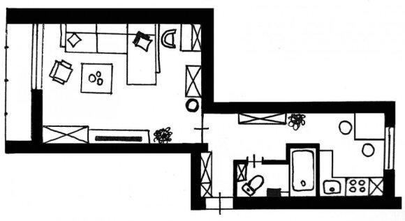 Sumanus 31 m² tipinio buto interjeras senos statybos name
