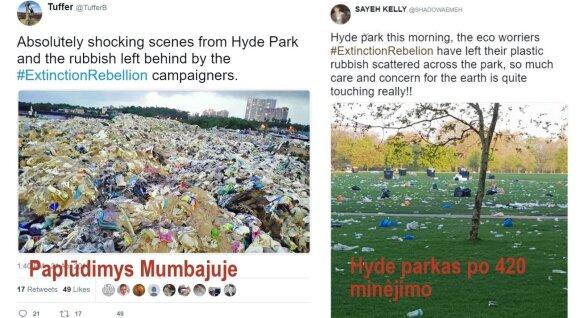 Kairėje - vaizdas iš paplūdimio Mumbajuje; dešinėje - vaizdas iš Hyde parko po 420 šventės