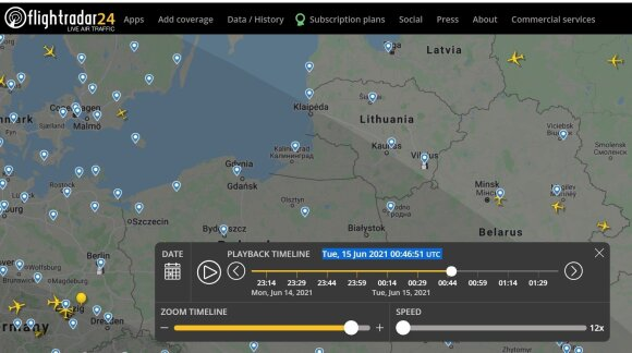 Apie 03:45-03:49 Lietuvos laiku (00:45-00:49 UTC) jokių orlaivių netoli Vilniaus nebuvo. Flightradar24.com iliustr.