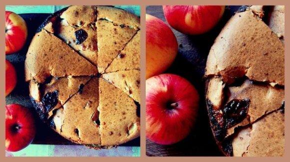 Eglės obuolių pyragas su karamele ir riešutais