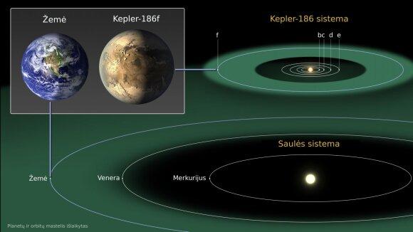 Saulės ir Kepler186 planetų sistemų palyginimas. Žaliai pažymėtos gyvybės zonos, kur gali egzistuoti skystas vanduo