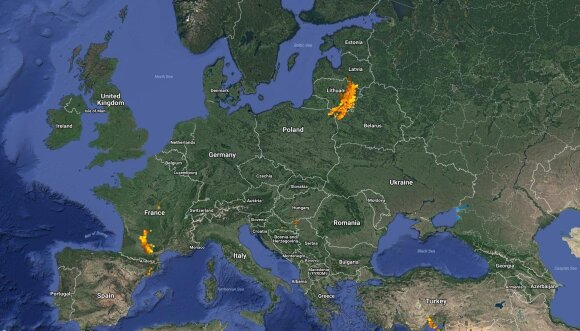 Pirmadienio žaibų žemėlapis