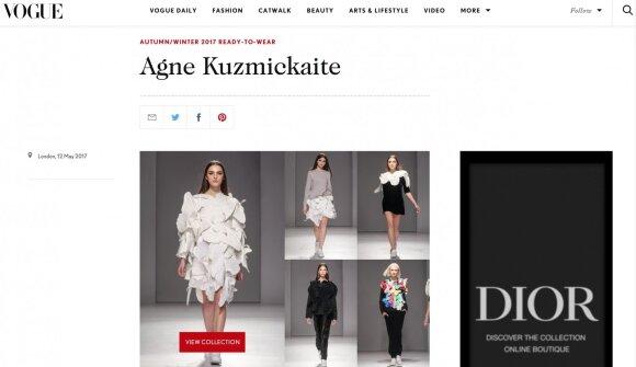 """A. Kuzmickaitės pavardė sužibo mados biblija vadinamo """"Vogue"""" tinklapyje"""