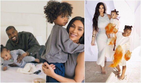 Kim Kardashian ir Kanye Westas su vaikais