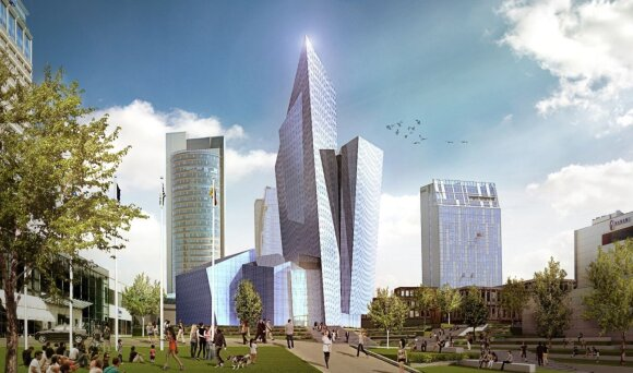Daniel Libeskind design for a business centre on the Neris bank