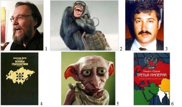 A. Duginas (1), M. Jurjevas (3), jų knygos (4, 6) ir su jais sietini personažai (2, 5)