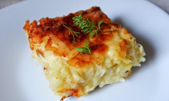 Sūriu pagardintas bulvių plokštainis