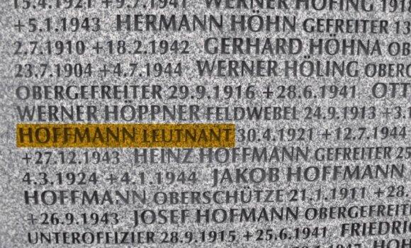 Leitenanto Hofmano pavardė iškalta ant paminklo Vingio parko Vokiečių karių kapinėse, G. Širono nuotr.
