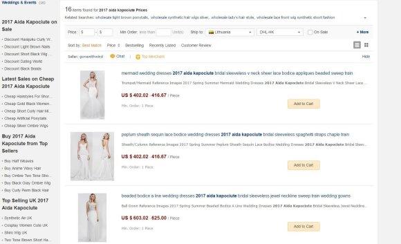 A. Kapočiūtės kurtos suknelės dhgate.com