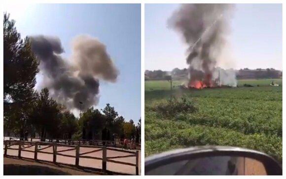 В Испании военный самолет упал после парада, пилот погиб