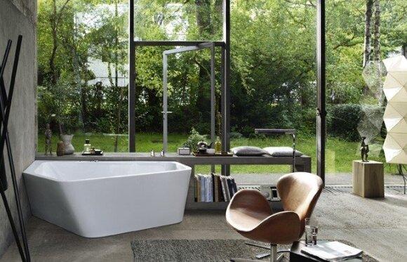 Apie neįprastą vonią dviem ir sulankstomą dušo kabiną
