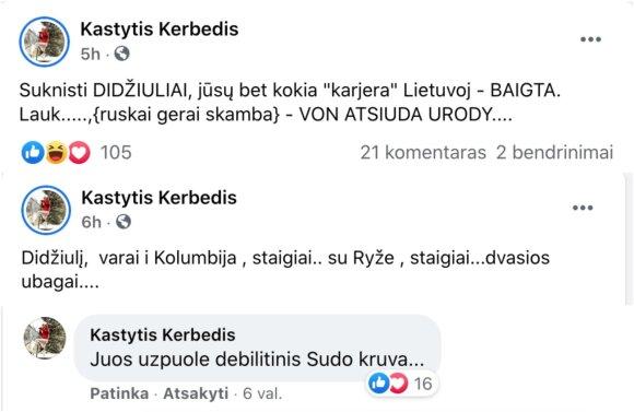 K. Kerbedžio profilyje atsiradę komentarai
