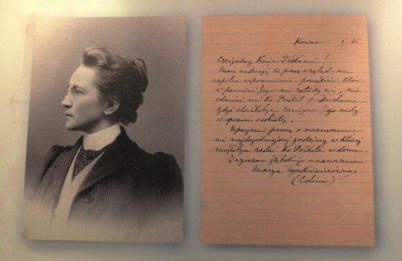 Marijos Tiškevičiūtės portretas ir laiško Maironiui faksimilė.