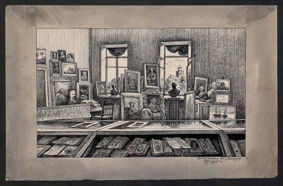 Vilniaus meno ir mokslo muziejaus interjerą įamžinantis Vladislovo Leščinsko piešinys (1914 m., popierius, tušas; 30,7x48)