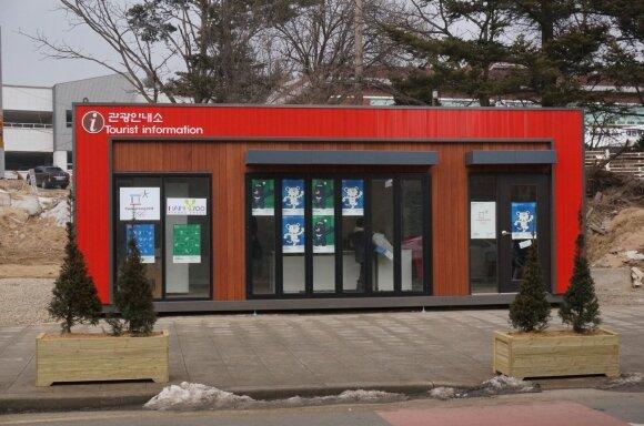 Informacinis biuras Pjongčange (Eugenijaus Lenoavičiaus nuotr.)
