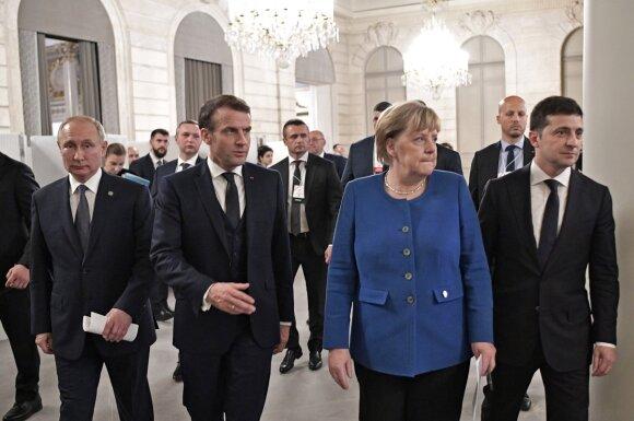 Vladimiras Putinas, Emmanuelis Macronas, Angela Merkel, Volodymyras Zelenskis