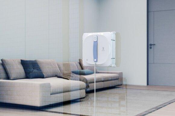 Langų valymo robotas geba pats prisitraukti prie stiklo, jei nutrūktų elektros energijos tiekimas, įrenginys vis tiek liktų prisitraukęs