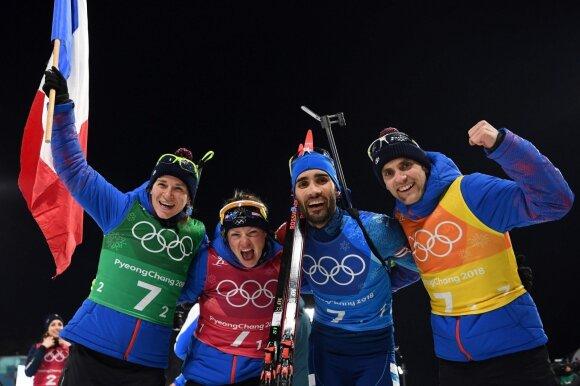 Prancūzijos mišrios biatlono estafetės rinktinė laimėjo olimpinį auksą