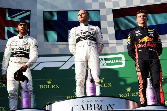 Lewisas Hamiltonas, Valtteri Bottas ir Maxas Verstappenas