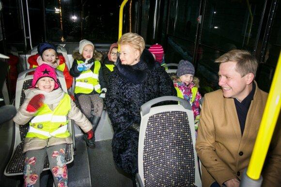 Грибаускайте и Шимашюс прокатились на рождественском паровозике