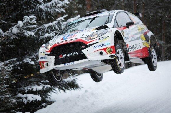 """""""Winter Rally"""" nugalėtojai: čekų duetas Jaroslav Orsak ir Jindřiška Žakova"""