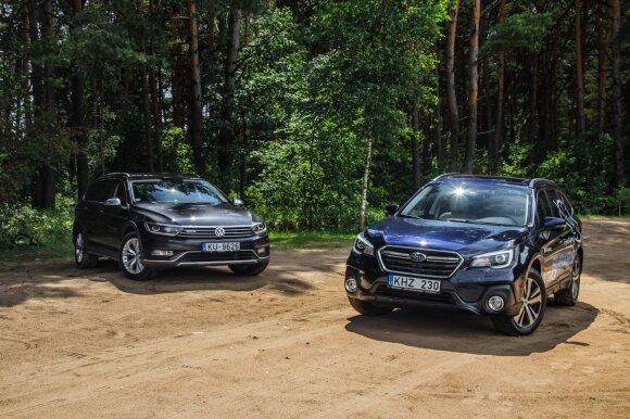 """Palygino: """"Subaru Outback"""" prieš """"Volkswagen Passat"""". Aivaro Grigelevičiaus nuotr."""