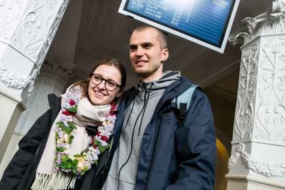 Ieva Zasimauskaitė su vyru Marium