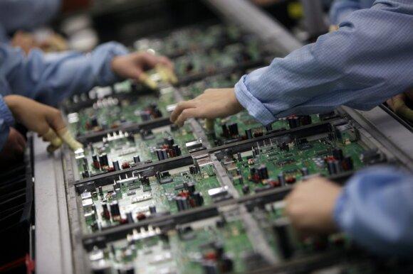 Mikroschemų gamykla Kinijoje.