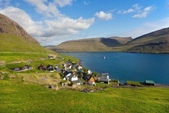 Siorvagsvatno ežeras Farerų salose - tarp žemės ir dangaus