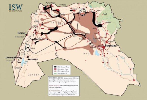 ISIS kontrolės zonos Sirijoje ir Irake, 2015 m. gruodžio 21 d. duomenimis (ISW nuotr.)